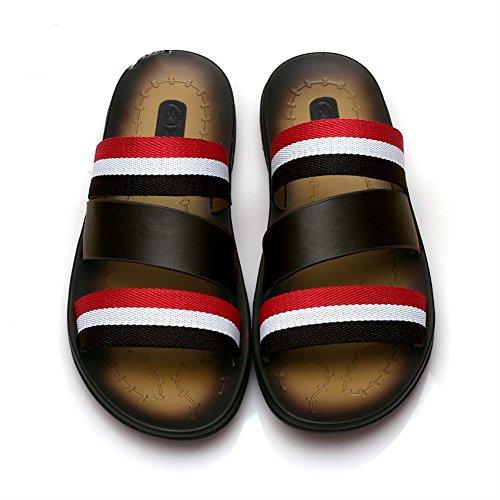 Insun Unisex Erwachsene Flache Hausschuhe Leder Sandalen Pantoffeln Schwarz