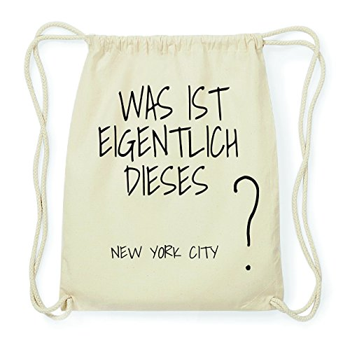 JOllify NEW YORK CITY Hipster Turnbeutel Tasche Rucksack aus Baumwolle - Farbe: natur Design: Was ist eigentlich