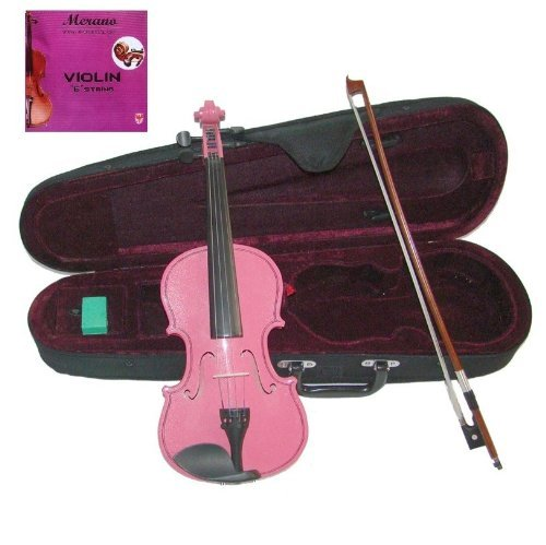 Merano 4/4 (Full) Size Pink Acoustic Violin with Case and Bow+Free Rosin+Merano Brand E String