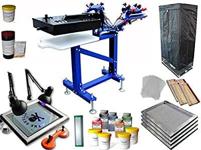 3 Color 1 Station Screen Printing Full Kit Micro-registration Screen Printing Press the Flash Dryer UV Exposure Drying Cabinet Material Kit