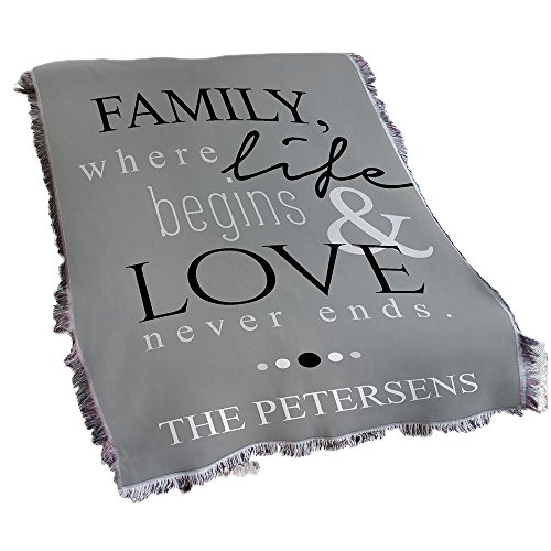 GiftsForYouNow Family Life and Love Personalized Tapestry Throw Blanket