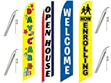 4 Swooper Flags & Pole Kits Daycare School Children Open House Enroll Welcome