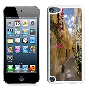 NEW Unique Custom Designed iPod Touch 5 Phone Case With Old City Alley Flowers_White Phone Case