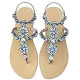 Women's Sparkle Bohemian Flip Flops Summer Beach Thong T-Strap Flat Sandals Sliver Size 8.5