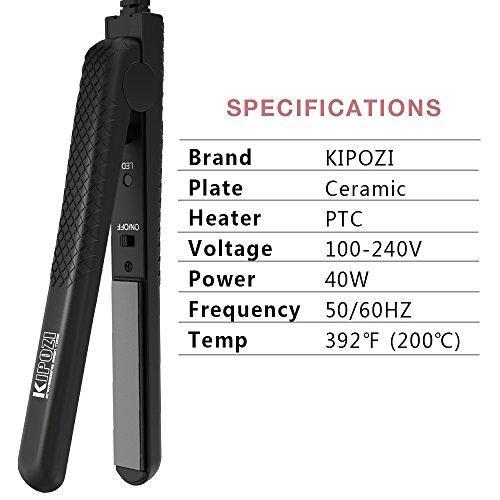 KIPOZI Hair Straightener Mini 0.5'' Ceramic Flat Iron for Travel, Effective for Bangs Short and Thin Hair,Dual Voltage HeatsUp Quickly Black by KIPOZI (Image #4)