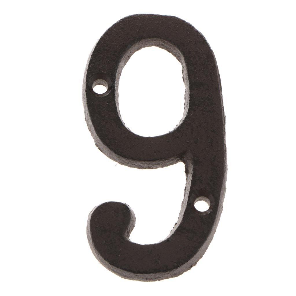 N/úmero 0 LOVIVER Placa de Signo de N/úmero 0 a 9 Hecho de Hierro con Tornillos de Ensamblaje Decoraci/ón para Puerta Pared Jard/ín