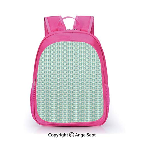 Custom Kid's Backpack Waterproof Cartoon Picture,Retro Style Geometrical Pattern with Squares Pastel Mosaic Decorative Turquoise Pale Green White,15.7inch,School Bag For Unisex Kids