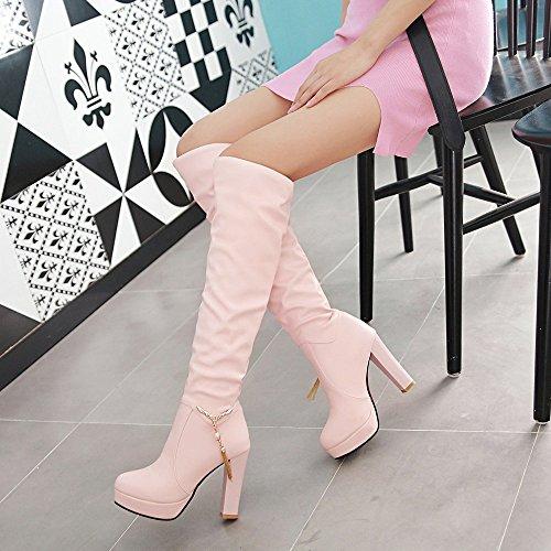 LGK&FALa cheville de Dame printemps démarrer au printemps et en hiver, talons hauts et bottes à talons hauts et chaussures d'hiver en hiver 41 Pink (thin)