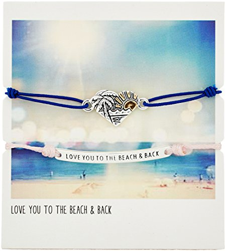 Adjustable Blue Cord with Silver Plated Beach Charm and