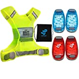 ONE DAY SALE !!! LED Safety Light and Reflective Vest Set (4-Pack with Clip and 3 BONUSES), Running...