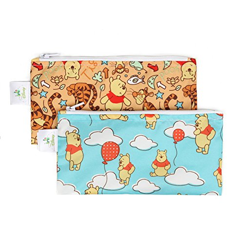 Bumkins Disney Winnie The Pooh Snack Bags, Reusable, Washable, Food Safe, BPA Free, 2-Pack