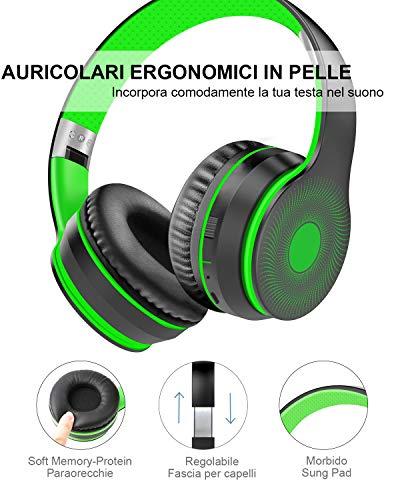 Cascos Bluetooth Diadema, Estéreo Música Auriculares Cerrados Inalámbricos Plegables HiFi con Micrófono Incorporado y Cable, Soporte Micro SD/TF/FM, para Móviles/TV/PC/MP3(Verde Oscuro)