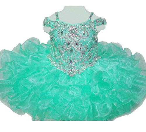 HuaiLian Baby Girls' Off The Shoulder Rhinestones Toddler National Pageant Cupcake Dresses 12M ()