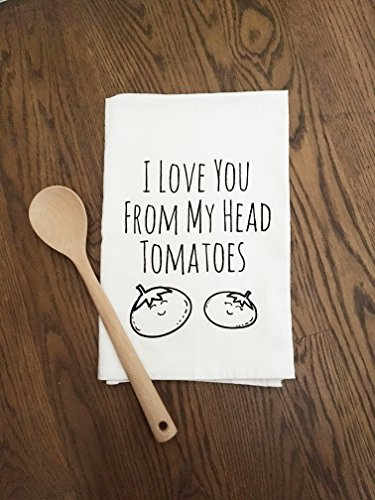 Sweet Dishcloth/ Tea Towel ~ I Love You From My Head Tomatoes ~ Funny Kitchen Cloth.