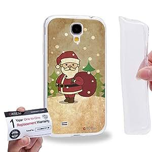 Case88 [Samsung Galaxy S4] Gel TPU Carcasa/Funda & Tarjeta de garantía - Art Christmas Classics Vintage Christmas Santa 1371