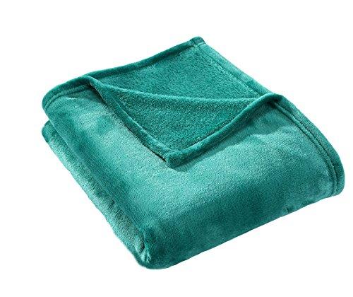 HYSEAS Velvet Plush Throw, Home Fleece Throw Blanket, 50 by 60-Inch, Teal (Soft Plush Throw)