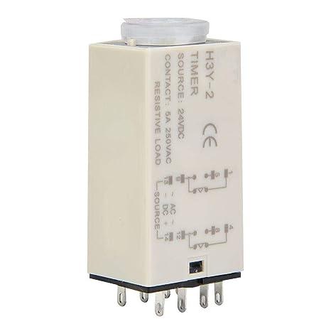 3S Temporizador de retardo H3Y-2 con rel/é de tiempo de marcaci/ón transparente 24V DC Interruptor de control de tiempo preciso 0-60S 8Pins
