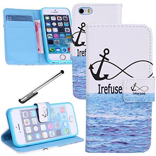 Für iPhone 5 5S, Urvoix (TM) Schutzhülle Case Schutzhülle aus PU-Leder, mit Anker Welle Meer