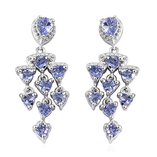 Trillion Tanzanite Dangle Drop Earrings 925 Sterling Silver Platinum Plated Gift Jewelry for Women Ct 1.3