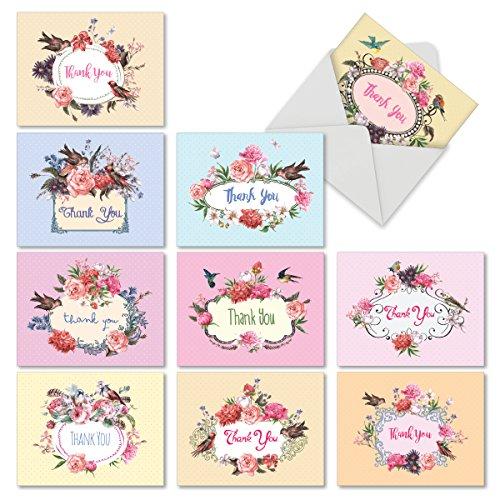 (M6577TYBsl Birds And Blossoms: 10 Assorted Blank Thank You Note Cards Featuring a Beautiful Arrangement of Peonies and the Flower's Fine Feathered Friends, w/White Envelopes.)
