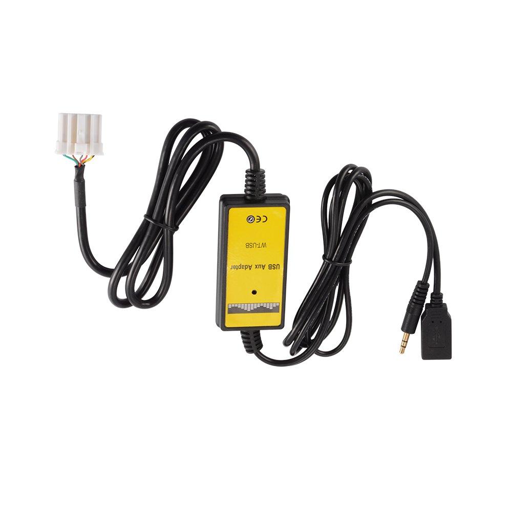 Kreema Car USB AUX Adapter 3.5mm Male Jack Interfaz USB Cable de entrada de adaptador para Mazda 2 3 5 6 MX-5 RX-8 MPV