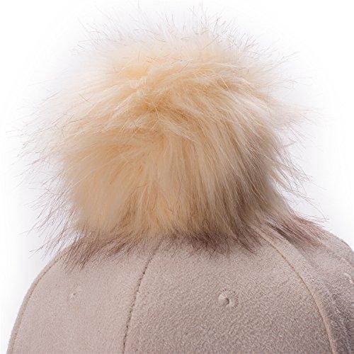Lawliet Womens Adjustable Suede Baseball Cap Hip-Hop Hat Faux Fur Pom Pom  A383 543b99803bc0