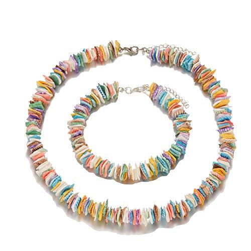 Starain 2 Pack Beach Shell Necklace Anklet Set for Women Girls Handmade Summer Beads Ankle Bracelet Adjustable ()