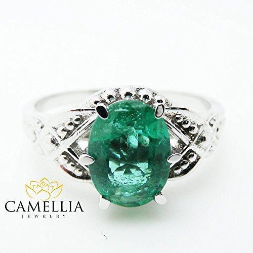 14K White Gold Emerald Engagement Ring 1.5carat Oval Cut Colombian Emerald by Camellia-Jewelry