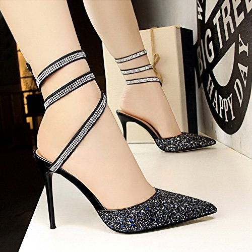 Blue De alto Serpiente con Forma En de Plateado De Zapatos tacón De Serpiente De Tacón Terciopelo Zapatos Versátiles Alto Forma con De Yukun zapatos Mujer 1wqZtCtS