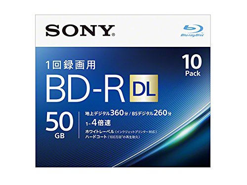 Sony 4X BD-R DL 10 pack 50GB White Printable 10BNR2VJPS4 by Sony