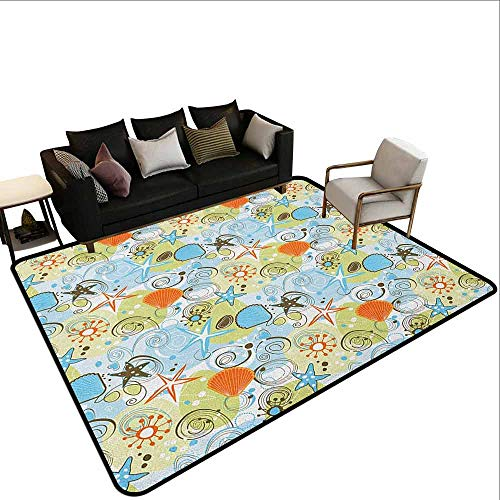 - Office Marshal Carpet Chair Sea Shells,Retro Inspirations Abstract Illustration Beach Elements Pattern Stars and Hearts, Multicolor