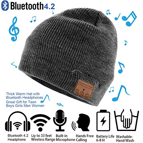 207d962c0ec Galleon - Bluetooth Beanie Hat Cap Winter Outdoor Sport Knit Toque With  Wireless Stereo Headphone Headset Earphone Speaker Built In Mic Thick Warm  Hat For ...