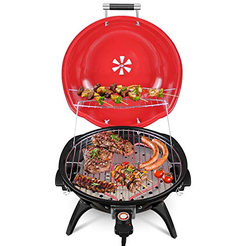 Techwood Indoor/Outdoor Electric BBQ Grill-Adjustable Temperature Control-18inch Round Portable Home Barbecue Grill