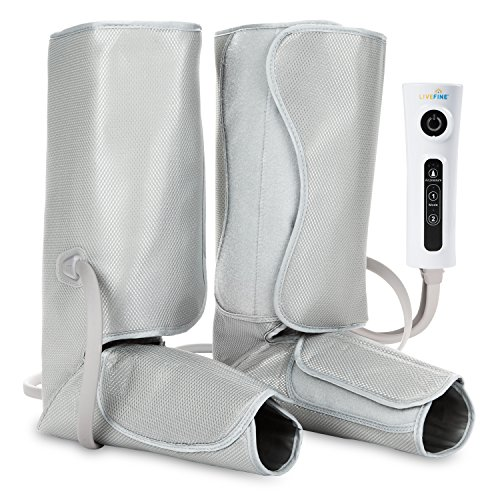 LiveFine Air Leg Compression Massager - Electric Foot & Calf Massage Wraps with Handheld Controller – 2 Modes & 3 Intensities Relieve Fatigue & Improve Blood Flow Circulation