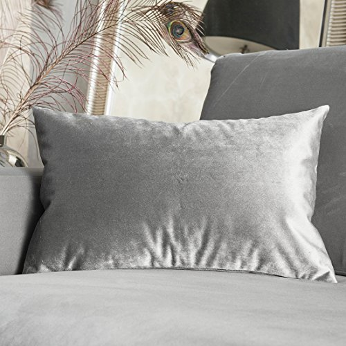 Deluxe Plush Velvet Rectangular Throw Cushion Cover Pillowcase for Bed by Home Brilliant, 30cm x 50cm, Silver Grey