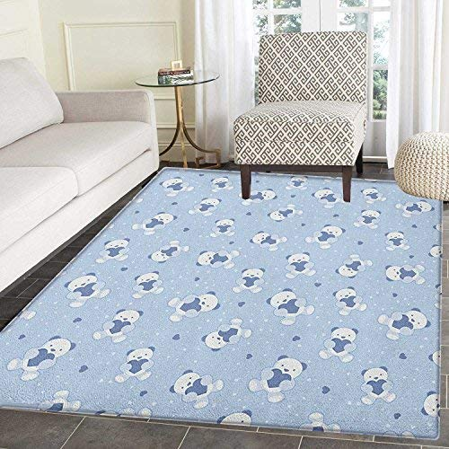 Boys Rugs for Bedroom Teddy Bears on Blue Backdrop Holding Hearts Baby Shower Theme Toddler Circle Rugs for Living Room 2'x3' Baby Blue Cadet Blue White ()