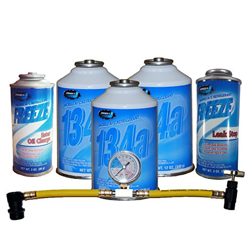 Johnsen's R-134a Complete Car Kit Refrigerant, Oil Charge, Stop Leak & Can Tap with Gauge