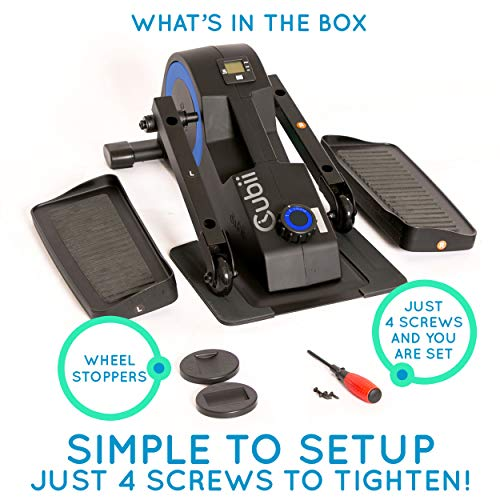 Cubii Jr: Desk Elliptical with Built in Display Monitor, Easy Assembly, Quiet & Compact, Adjustable Resistance (Royal Blue) by Cubii (Image #9)
