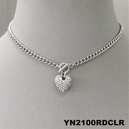 Silver Finish Chain Clear Rhinestone Encrusted Heart Pendant Choker Necklace