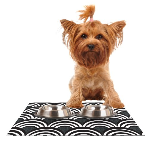 Kess InHouse Nicole Ketchum Art Deco Black  Feeding Mat for Pet Bowl, 18 by 13-Inch