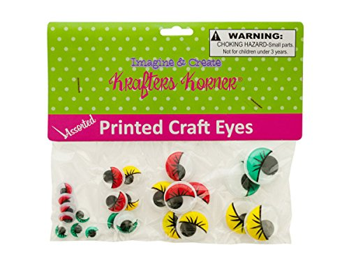 Kole Imports CC356-50 Colored Wiggly Printed Craft Eyes44; Pack of 50