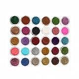 30pcs Mixed Colors Glitter Eyeshadow Powder Pigment Mineral Spangle Makeup Cosmetic Set Long-lasting (Random Color)