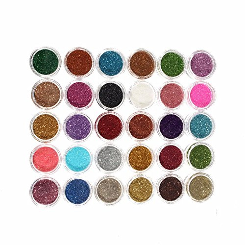 30pcs Mixed Colors Glitter Eyeshadow Powder Pigment Mineral Spangle Makeup Cosmetic Set Long-lasting (Random Color) - Mica Natural Foundation
