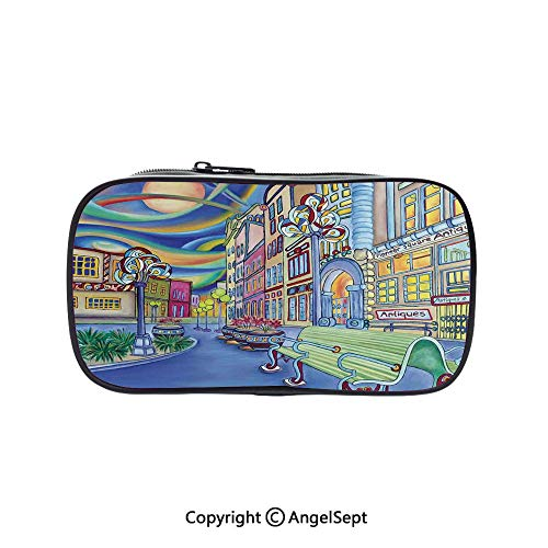 Pen Case Office College School Large Storage,Seattle Downtown Modern City Colorful Design Art Oil Painting Effect Decorative 5.1inches,Box Organizer New -