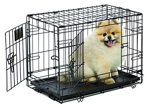 Dog Crate | MidWest Life Stages XS Double Door Folding Metal Dog Crate | Divider Panel, Floor Protecting Feet, Leak-Proof Dog Tray | 22L x 13W x 16H inches, XS Dog Breed