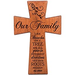 Our Family Like Branches on a Tree Cherry Wood Wall Cross Anniversary Housewarming Gift By Dayspring Milestones (7x11)