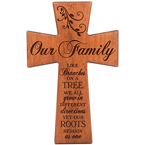 Like Cross (Our Family Like Branches on a Tree We All Grow in Different Directions Yet Our Roots Remain As One Cherry Wood Wall Cross LifeSong Milestones #61556)