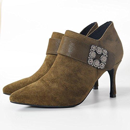Boots Tacones De high Tobillo Mujer Zapatos Invierno Heel Khskx Y Coreatreinta Botas Cuatroverde Ladies EUznxZwdq