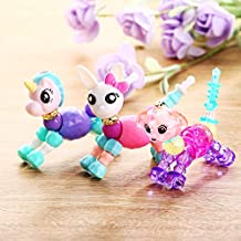 Twisty Beads Pets Magical Toy Bracelets That Twist into Beautiful Pet - 3 Pieces of Beautiful Twisty Bracelets Including a Enchanting Unicorn, a Oriental Cat and a Plummy Dog - Pack of 3