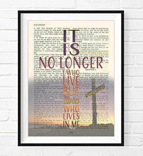 It Is No longer I Who Live, But Christ Who Lives in Me, Galatians 2:20, Vintage Bible Verse Wall Art Print, Unframed, Cross Christian Wall Art Home Decor Poster, Christmas Gift, 8x10 Inches